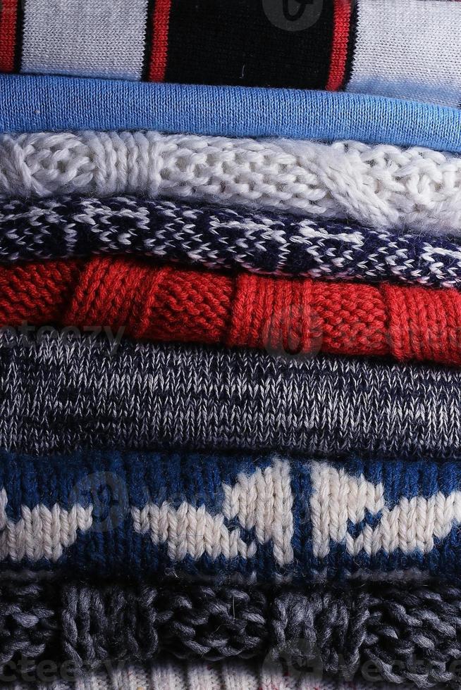 lavoro a maglia trama maglione di lana a maglia foto