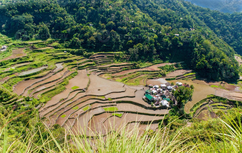 terrazze di riso e villaggio di banga-an foto