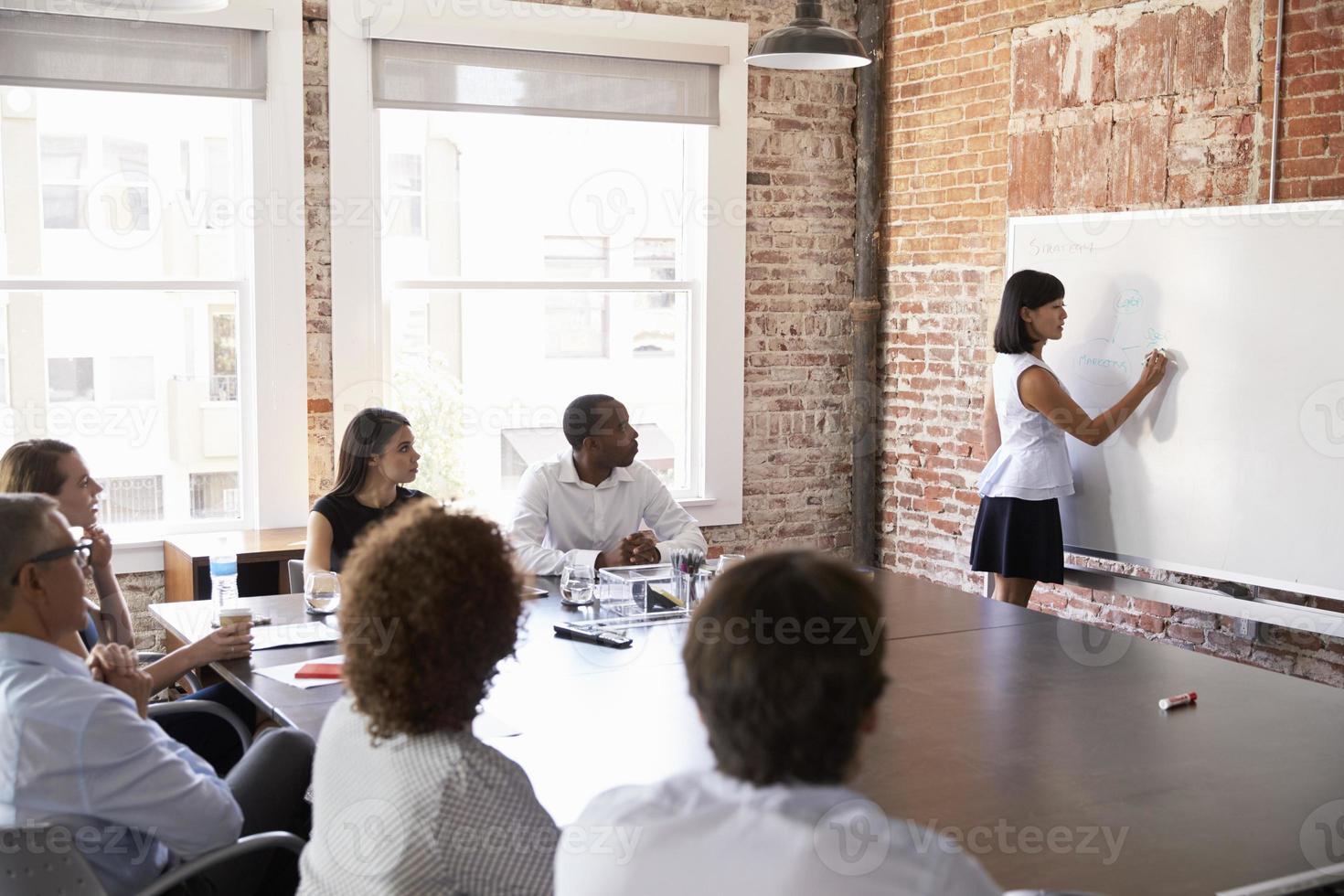 donna di affari alla lavagna che dà presentazione nella sala del consiglio foto