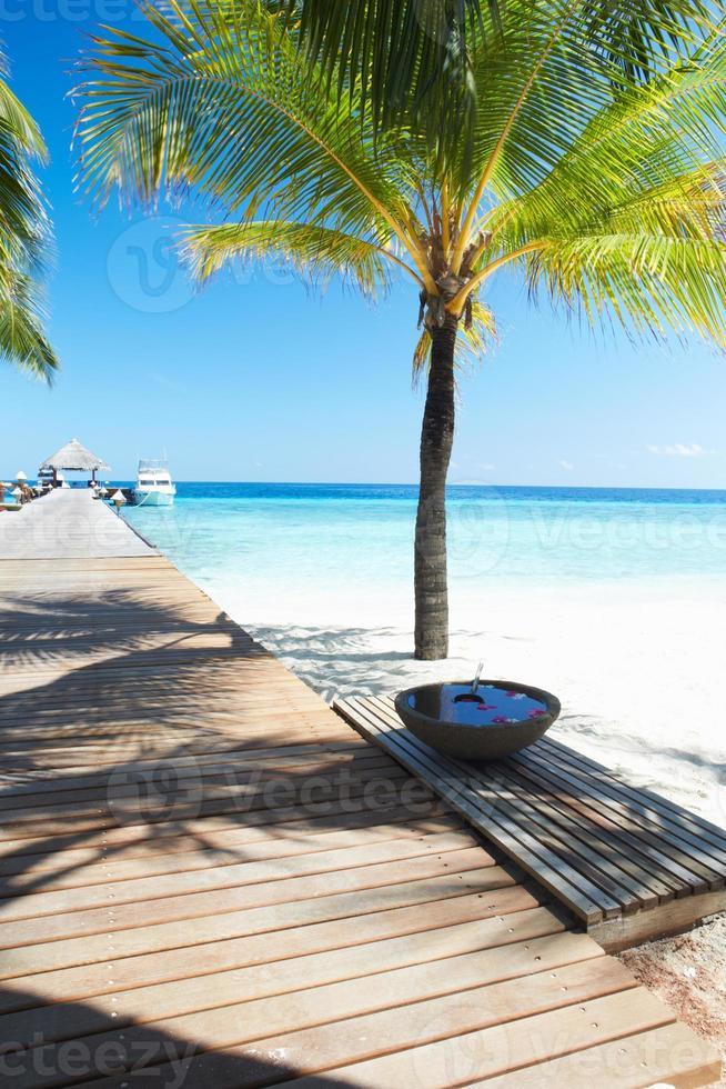 pontile in legno sulla deserta Palm Beach tropicale in Maldive foto