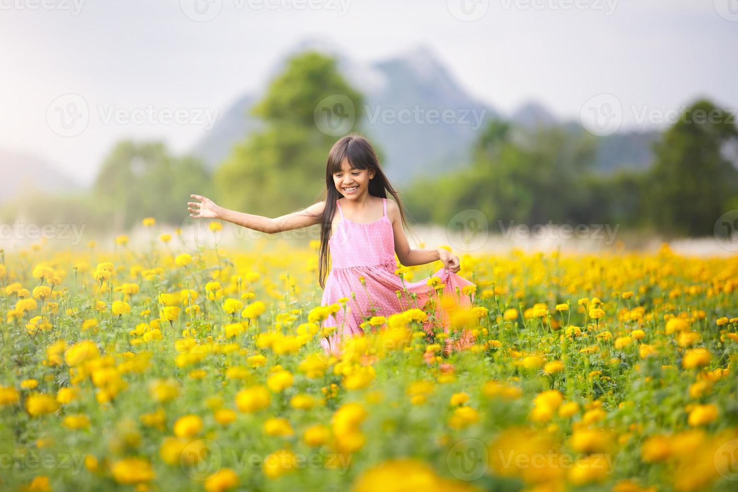 piccola ragazza asiatica in campi di fiori foto