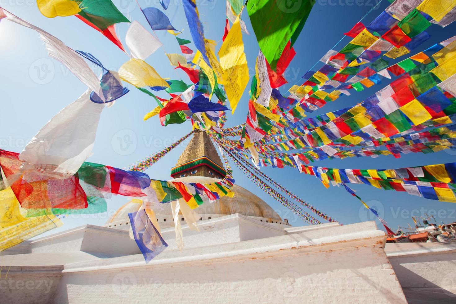 Boudhanath Stupa nella valle di Kathmandu, Nepal foto