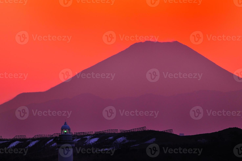 monte fuji del tramonto foto