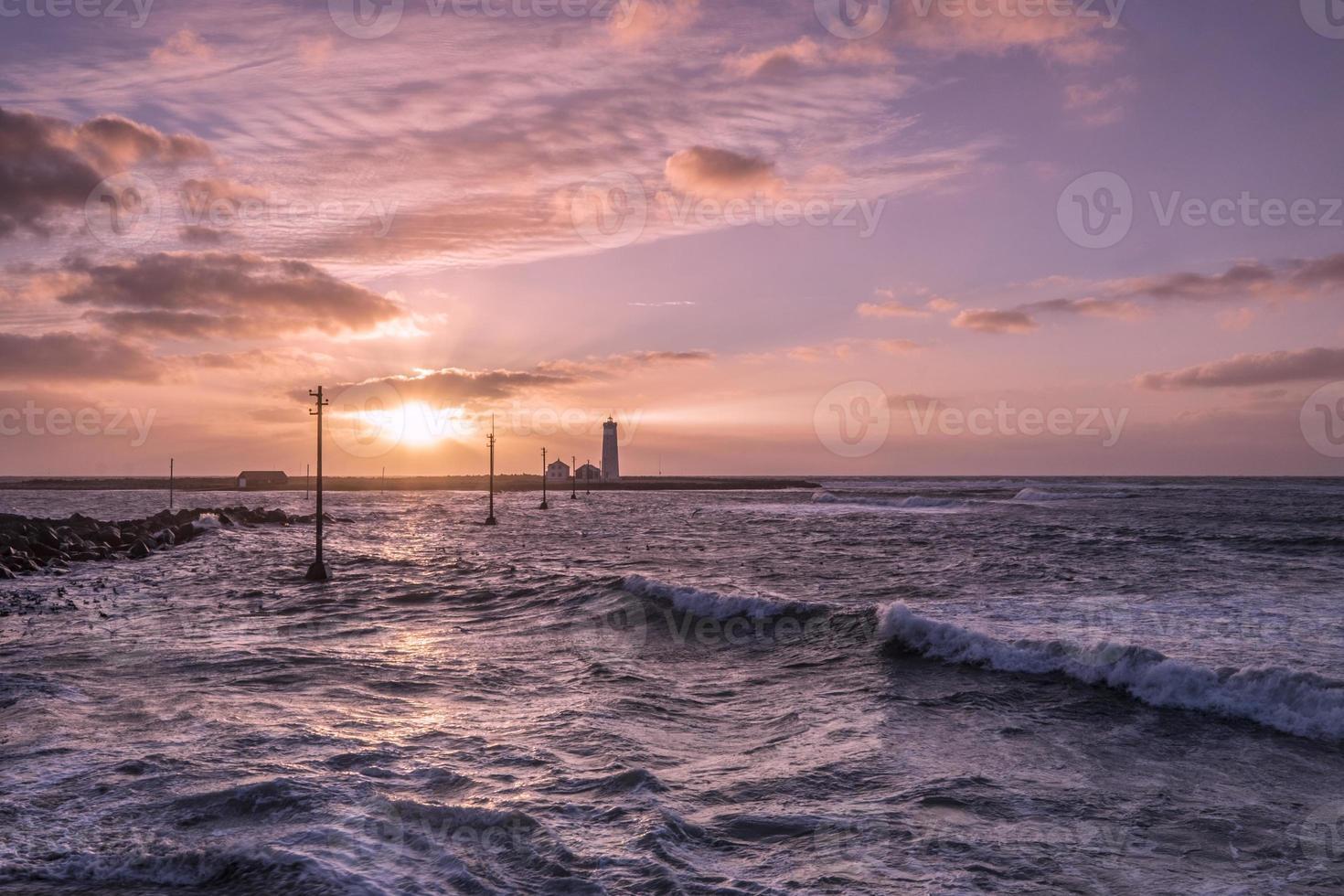 tramonto al faro foto