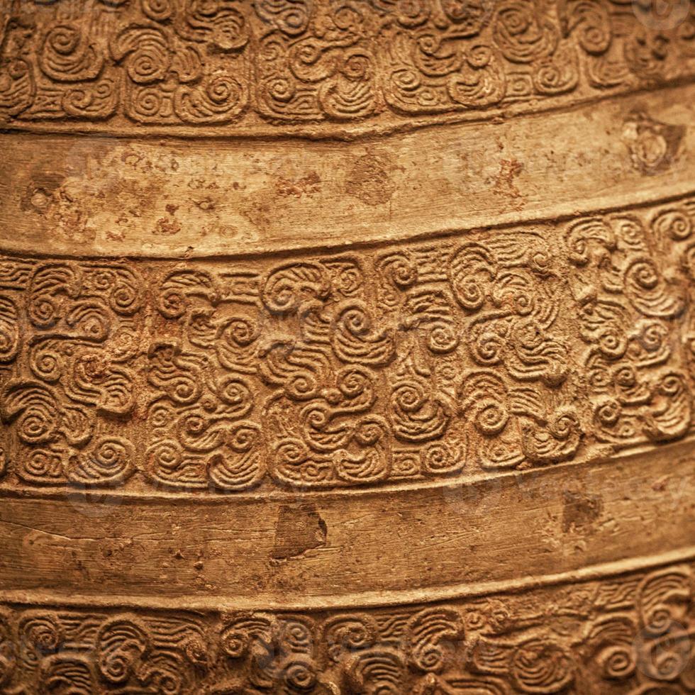 bronzo antico cinese con texture di sfondo foto