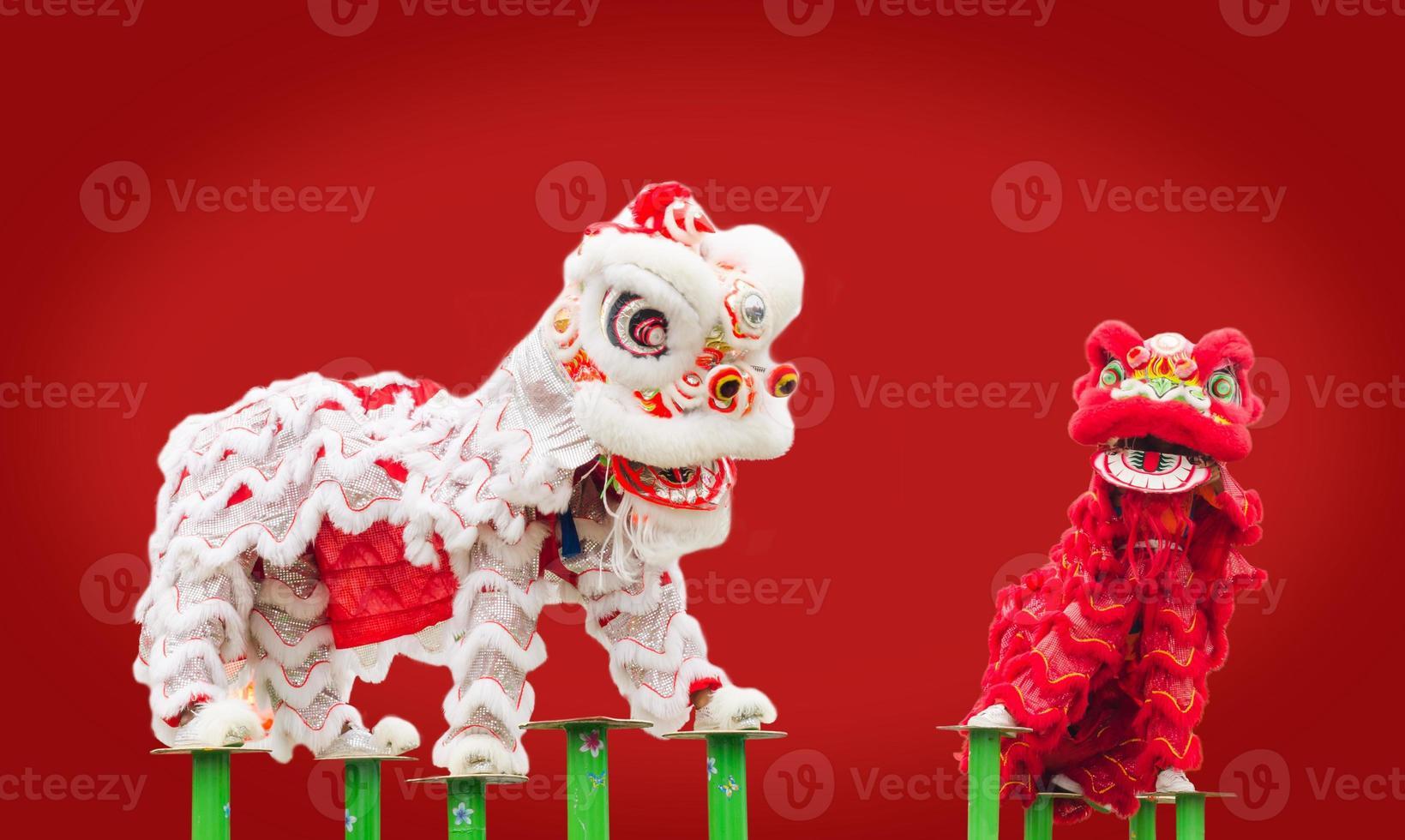 ballo in costume leone cinese foto