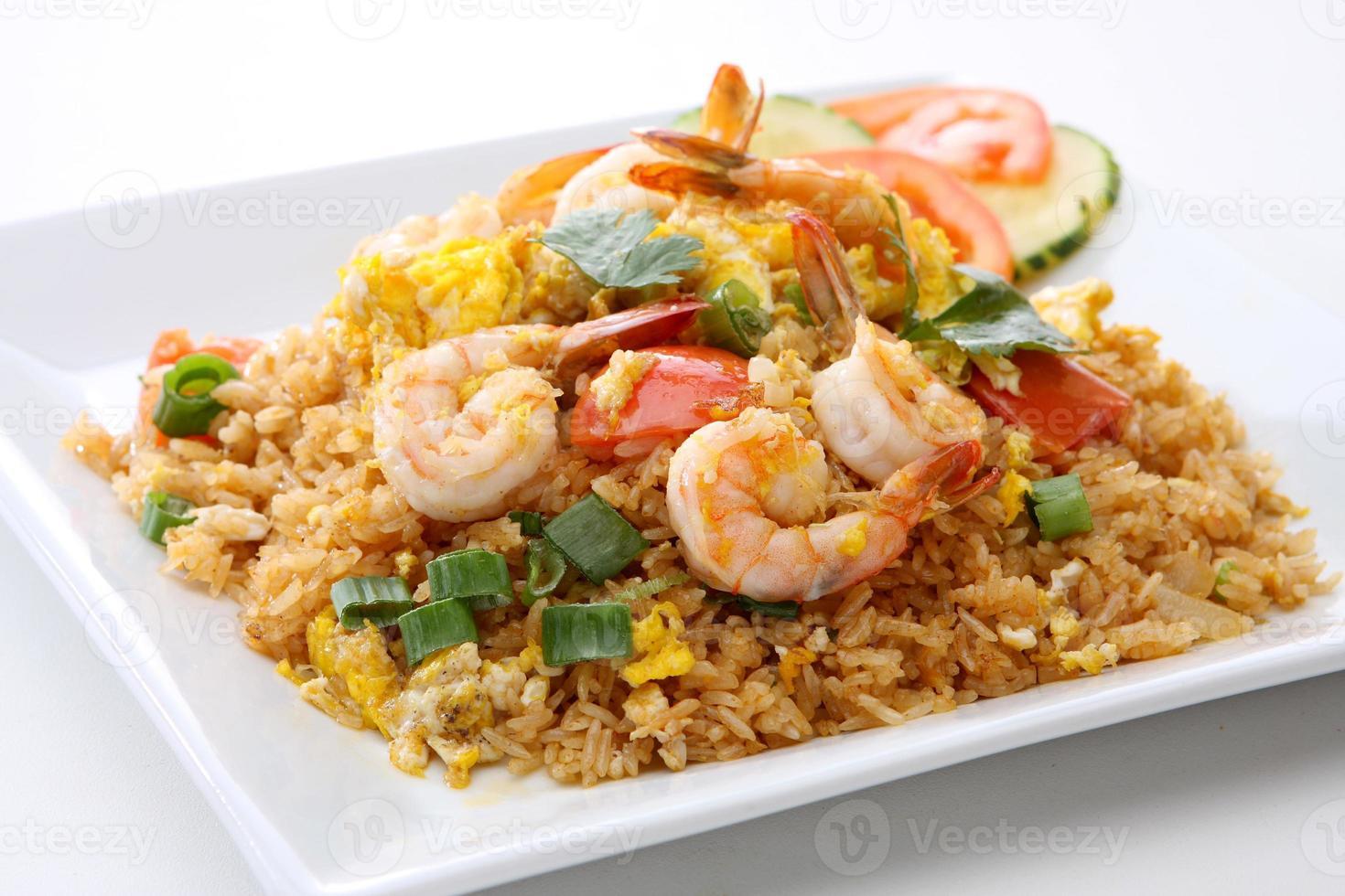 riso fritto del gambero tailandese dell'alimento foto