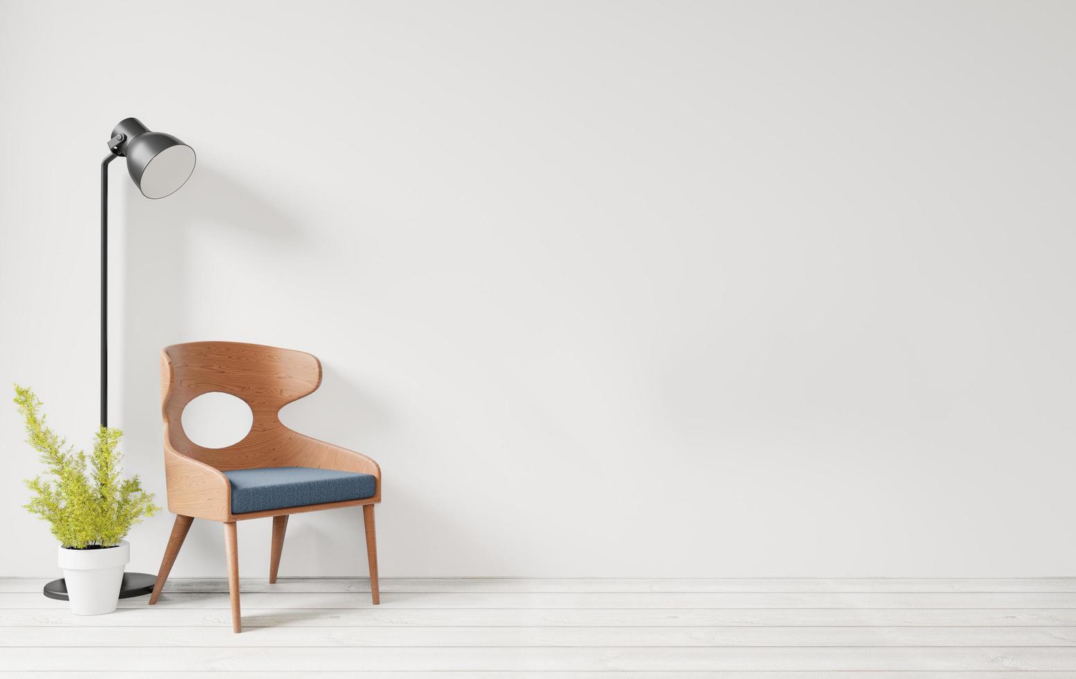 soggiorno in stile scandinavo con parete bianca foto