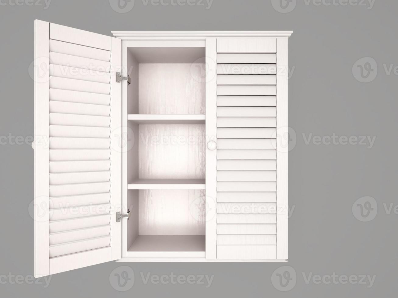 Illustrazione 3D di armadio semiaperto, vuoto, bianco foto