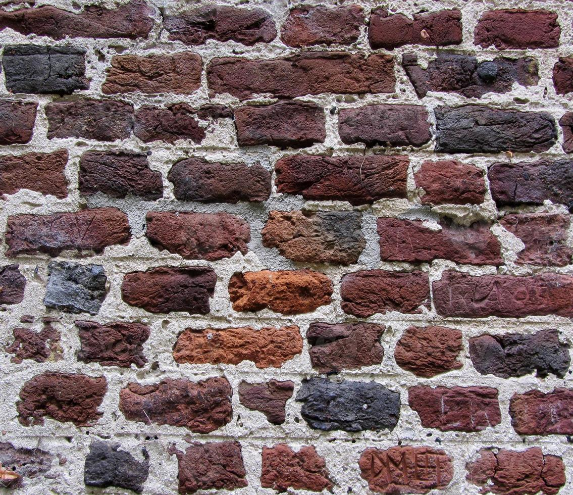 vecchio muro di mattoni in un'immagine di sfondo foto