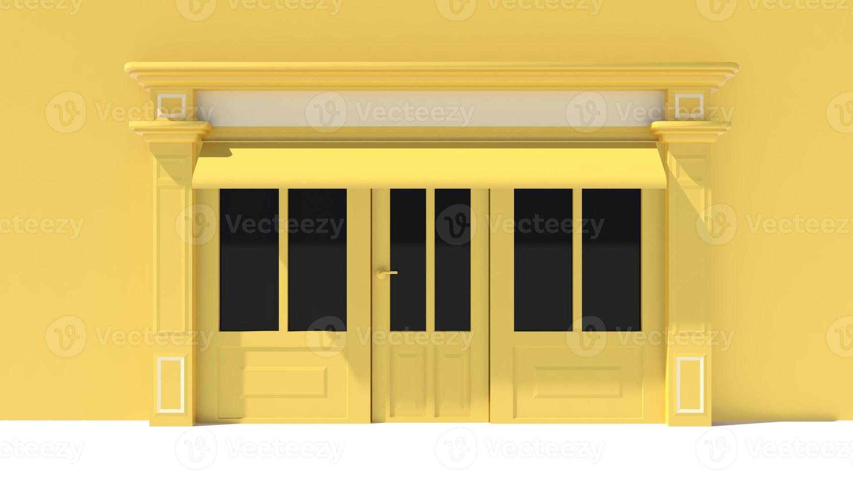 vetrina soleggiata con grandi vetrine bianche e gialle foto