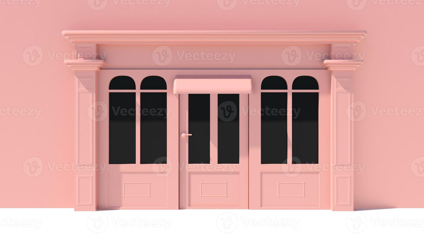 vetrina soleggiata con grandi finestre bianche e rosa facciata del negozio foto