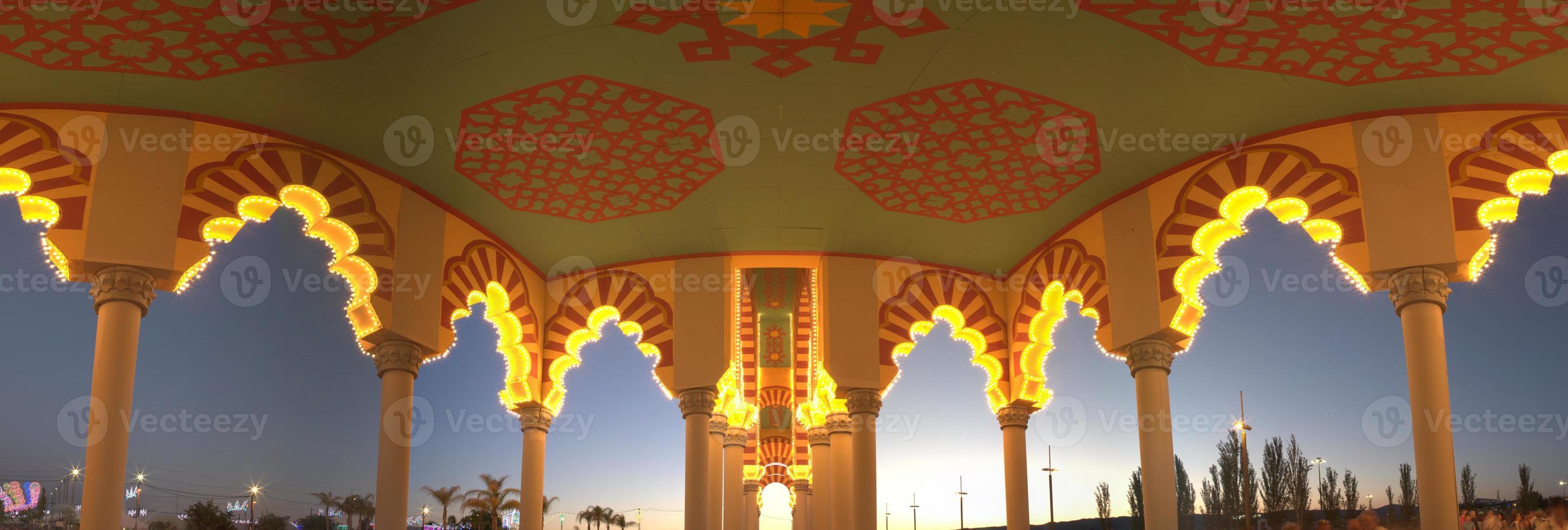 copertura della fiera di cordoba al tramonto foto