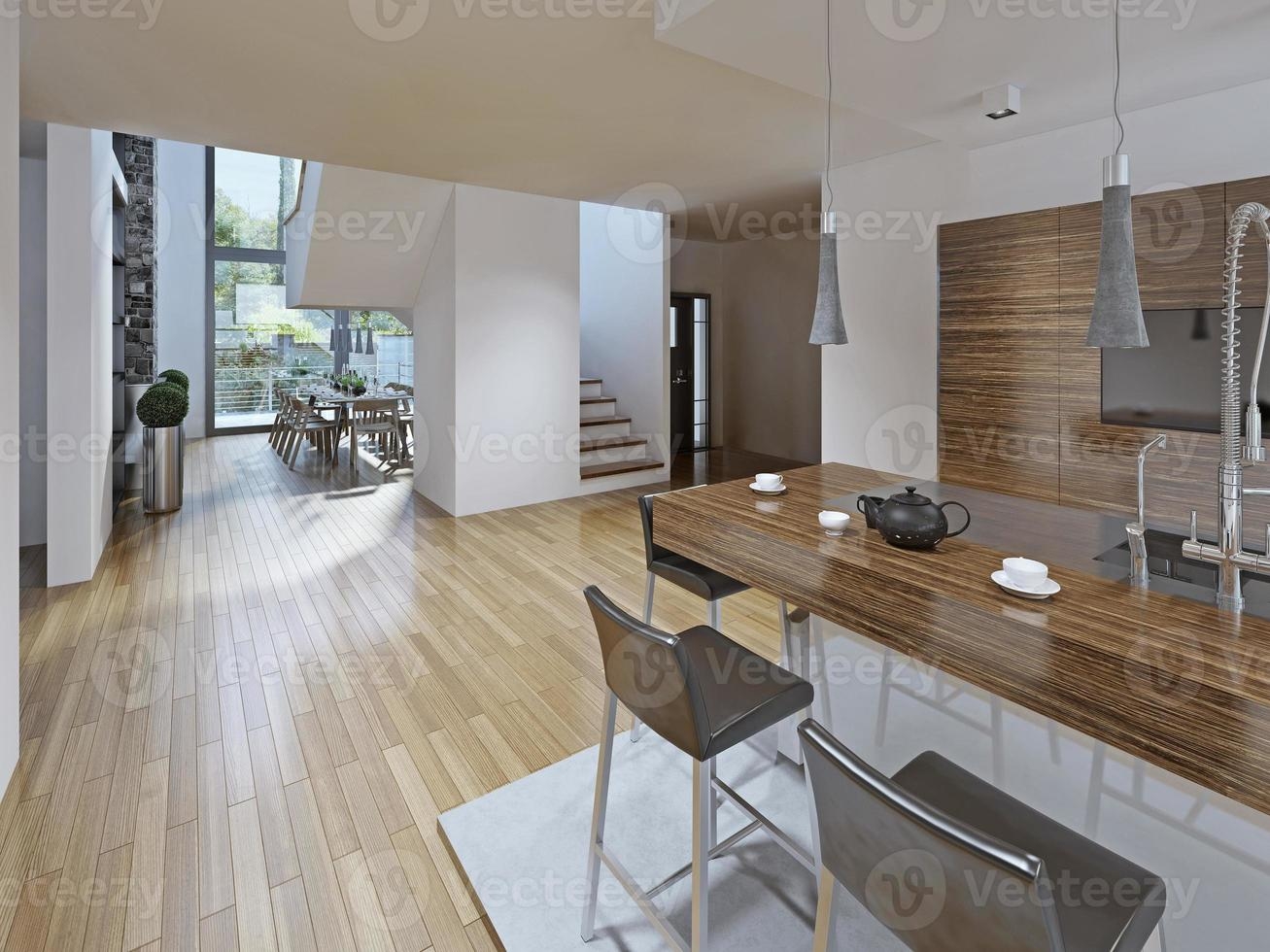 cucina in stile high-tech con sala da pranzo foto