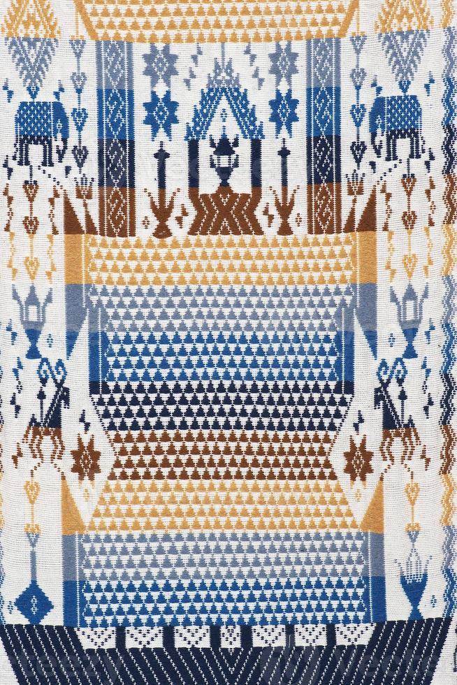 Colorato artigianato tailandese peruviano cutton superficie tappeto stile close up foto