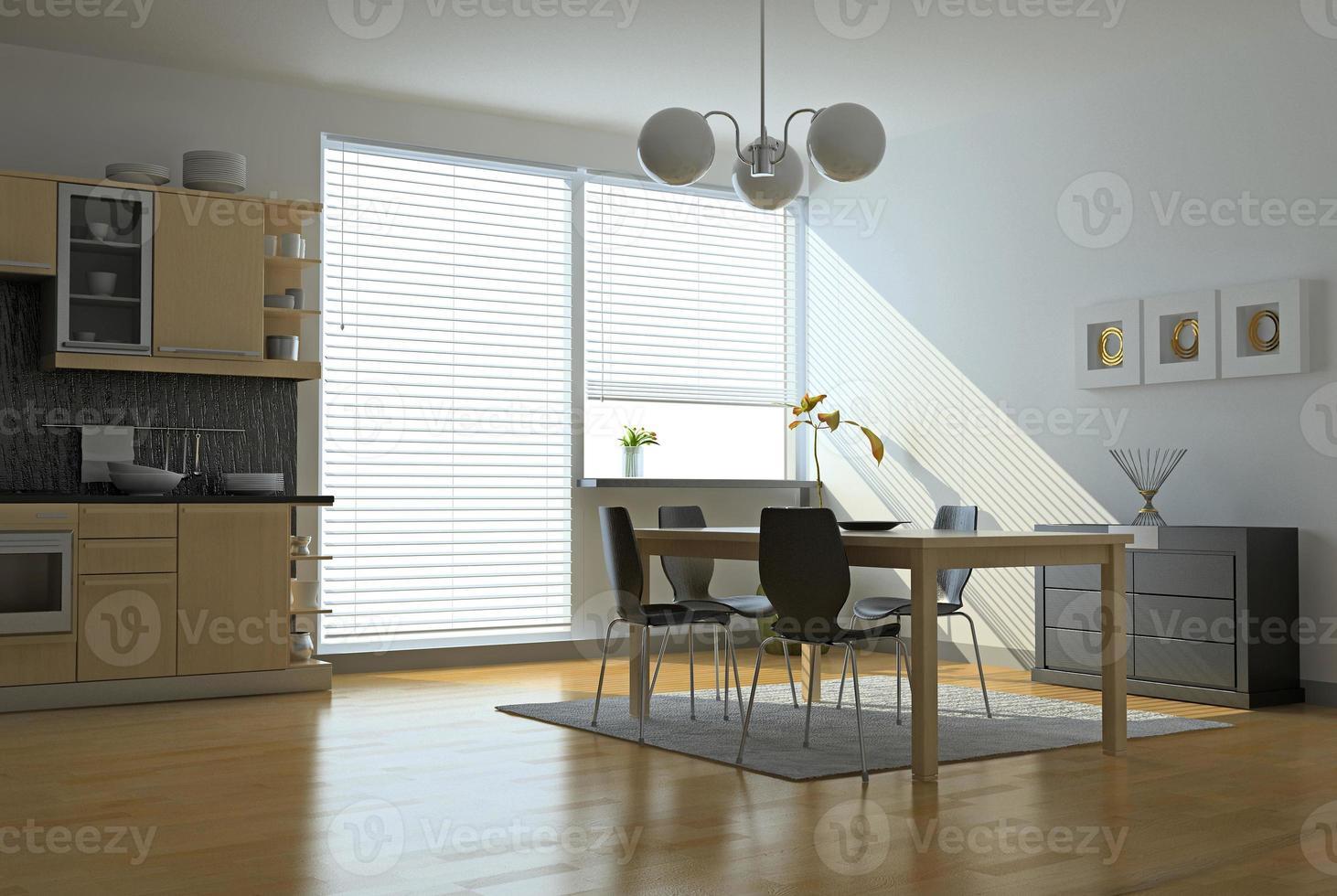 cucina moderna pulita e zona pranzo foto