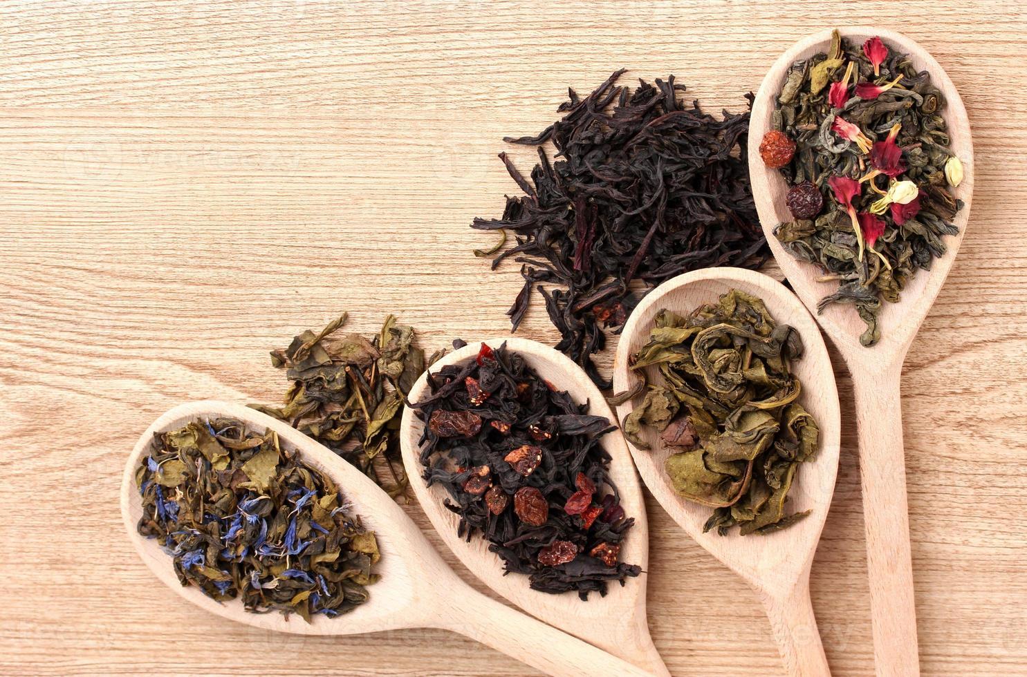diversi tipi di tè verde e nero in cucchiai foto