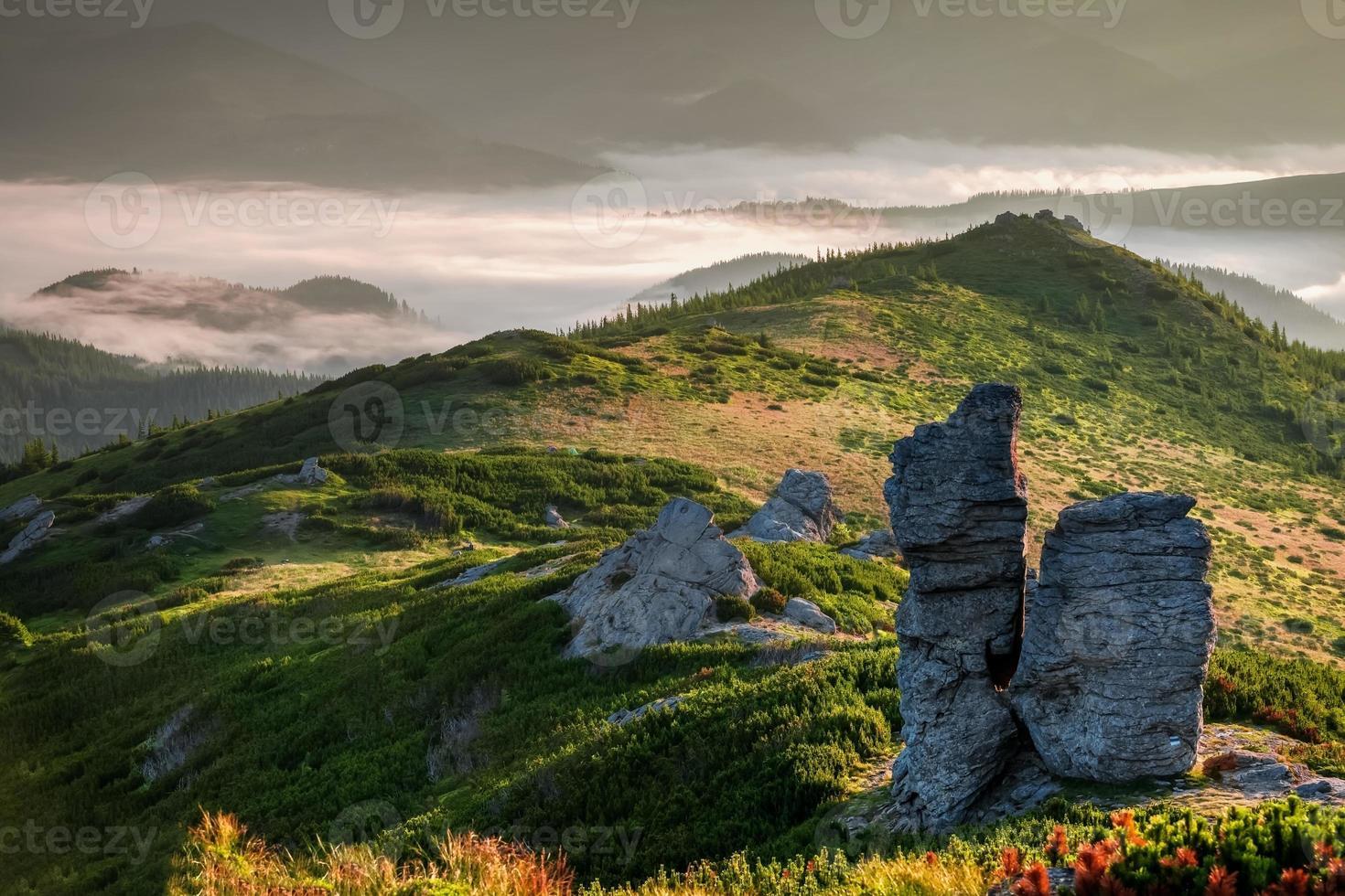 monti carpazi. alba in montagna con nebbia foto