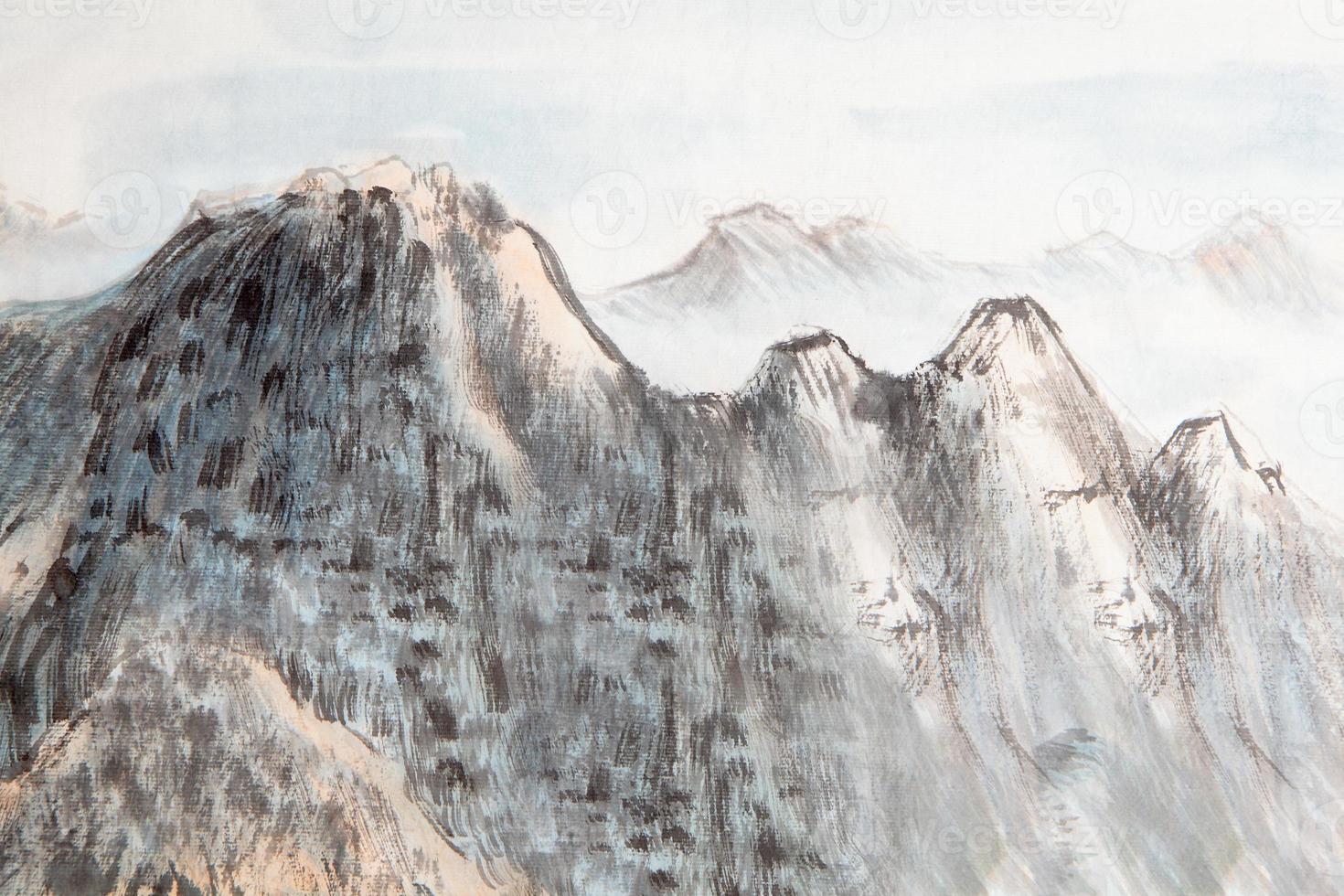 pittura tradizionale cinese, montagna foto
