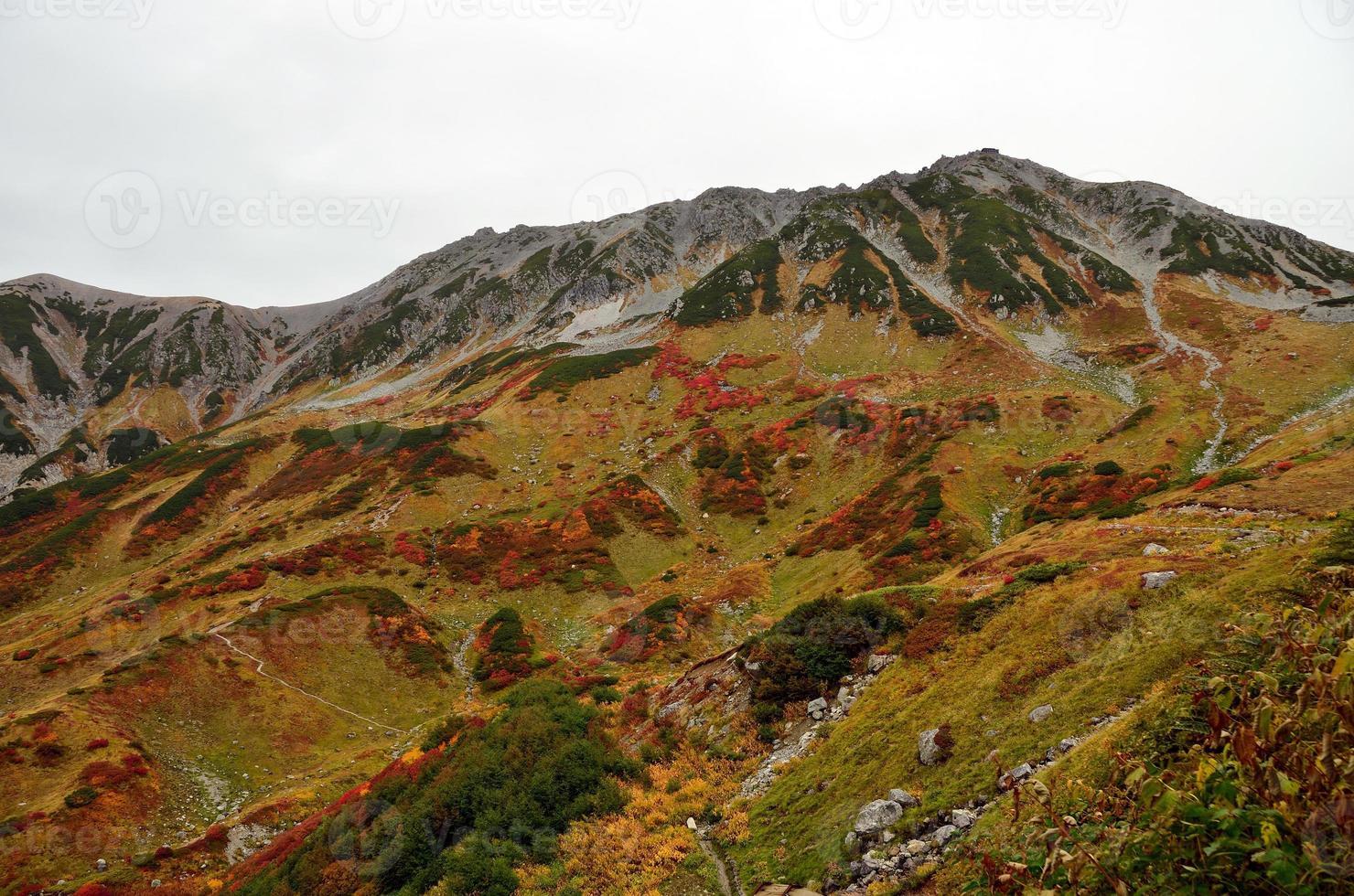 colori autunnali, catena montuosa di tateyama, giappone foto