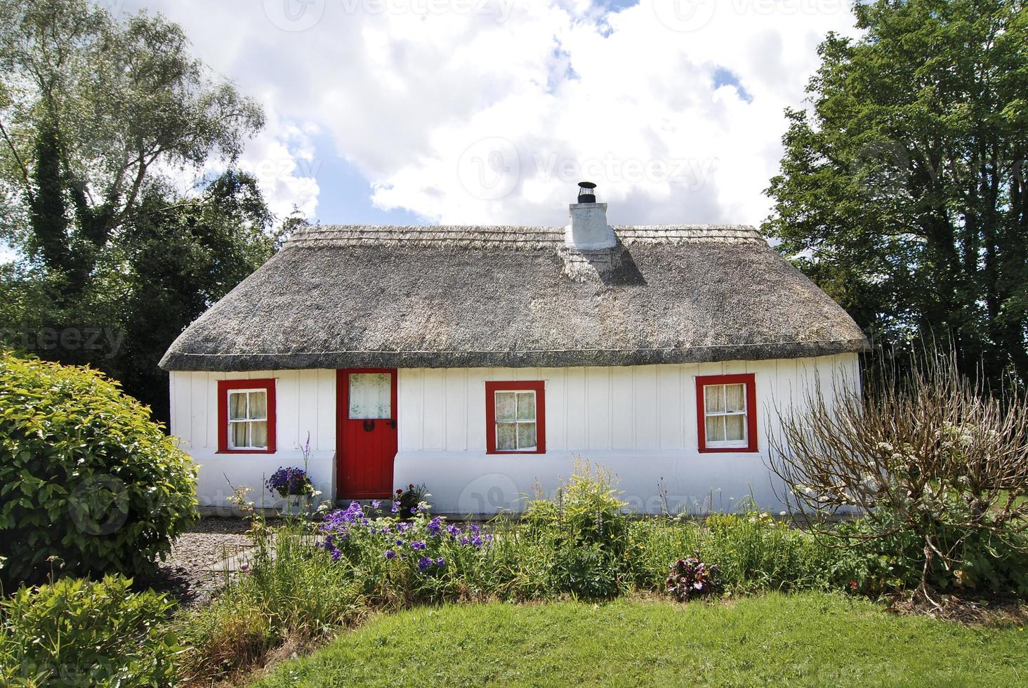 cottage irlandese con tetto in paglia di paglia e giardino lussureggiante foto