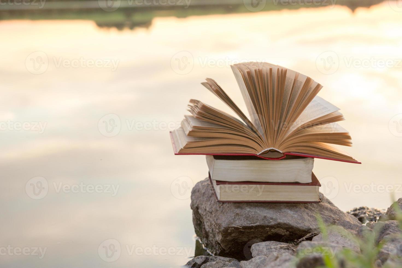 pila di libro con copertina rigida, libro aperto sul paesaggio natura vaga foto