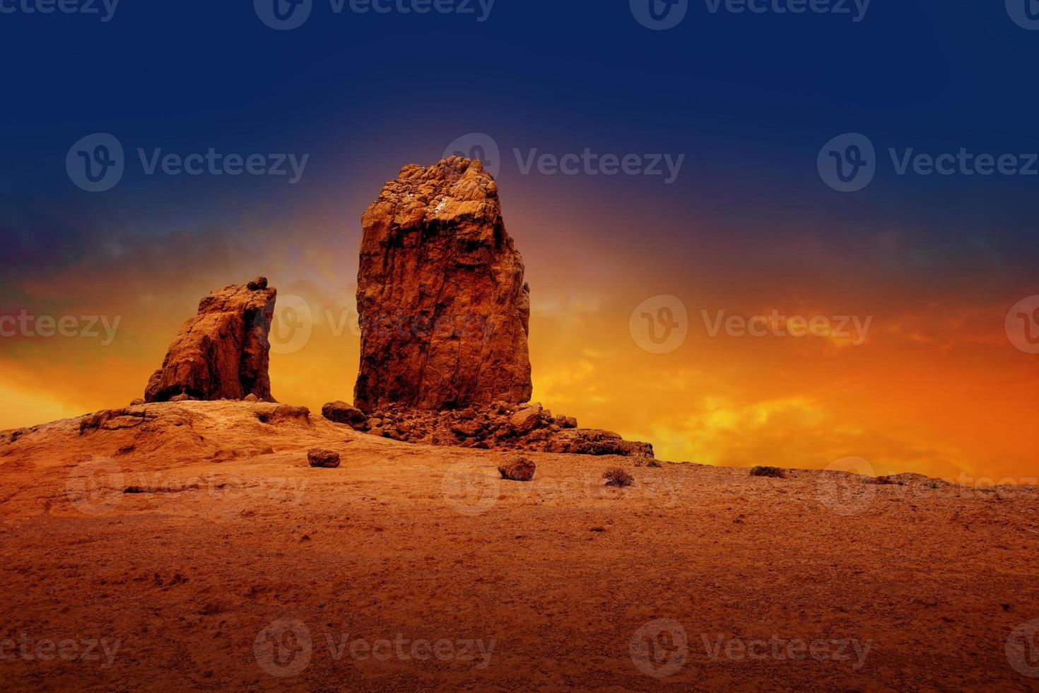 gran canaria roque nublo drammatico tramonto cielo foto