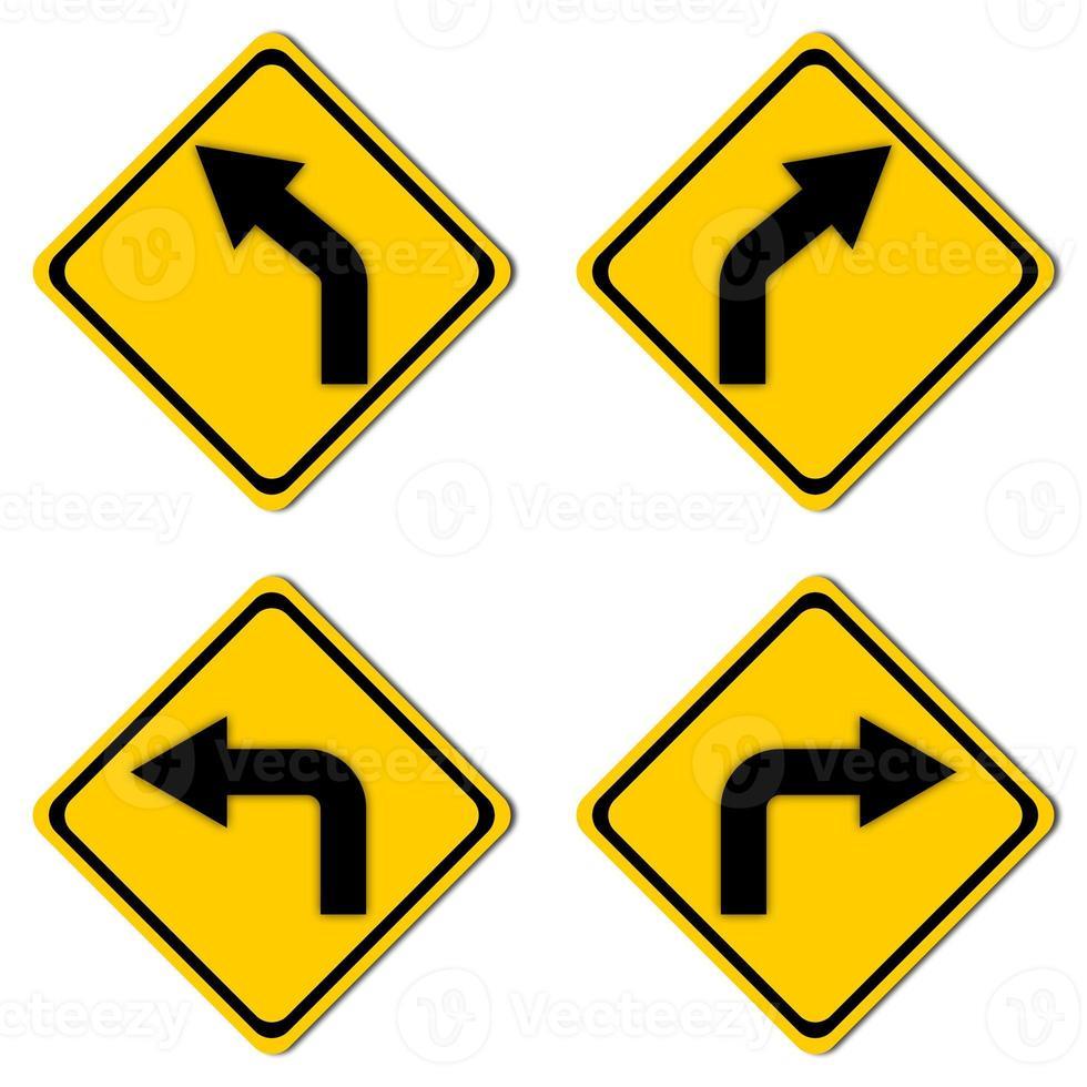 segnale stradale di avvertimento impostato foto