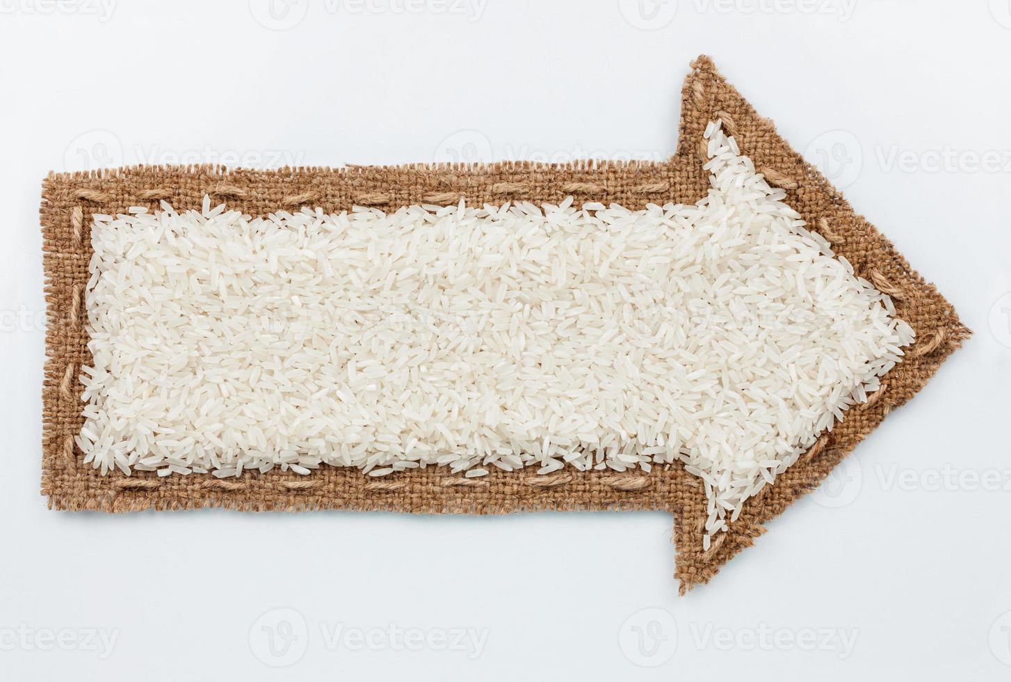 puntatore con chicchi di riso foto