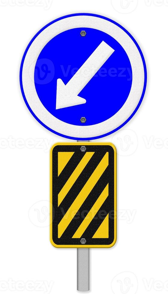 freccia sul segnale stradale blu, striscia diagonale gialla e nera foto