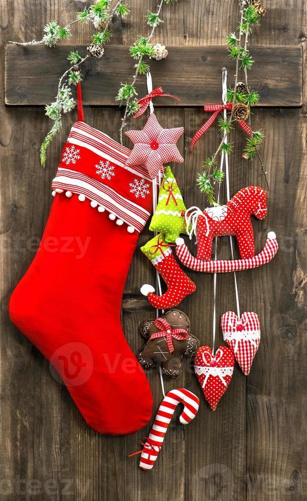 calze per decorazioni natalizie e giocattoli fatti a mano foto