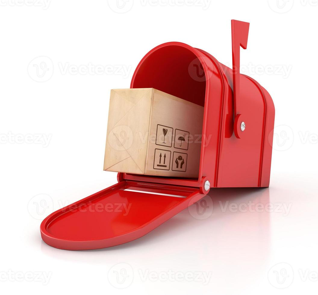 cassetta delle lettere rossa con scatola di cartone foto