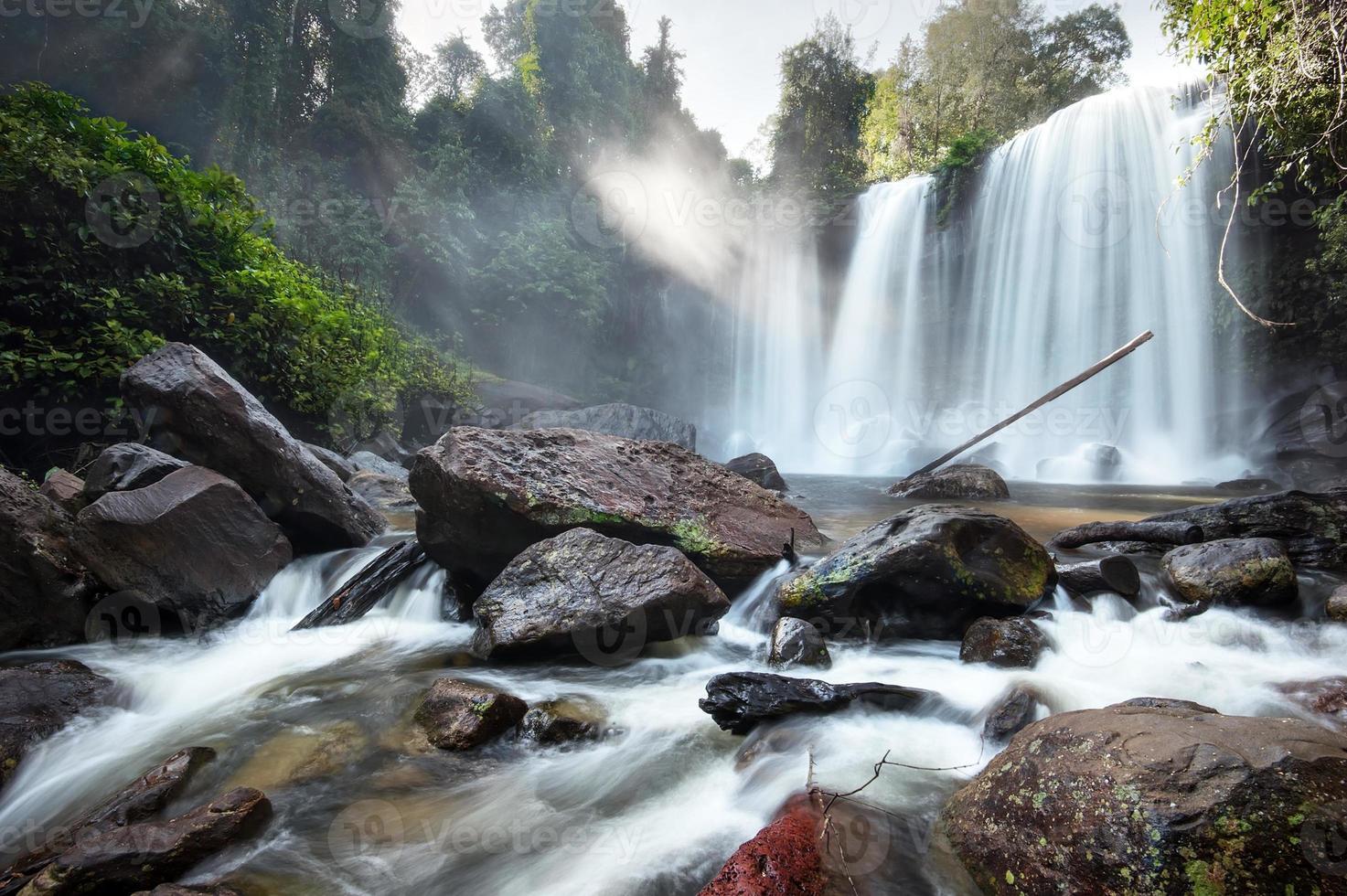 panorama del paesaggio della cascata. fotografia hdri all'aperto foto
