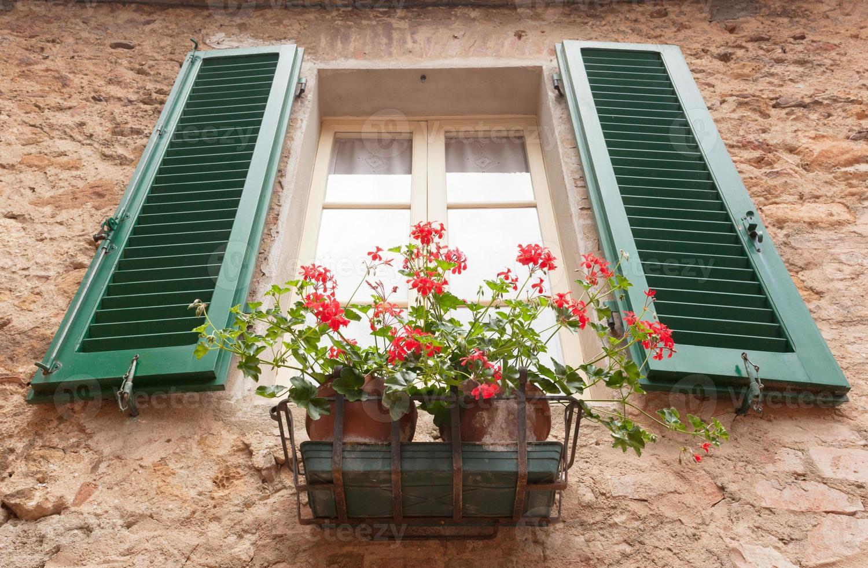 vecchia finestra con fiori a pienza, toscana. foto
