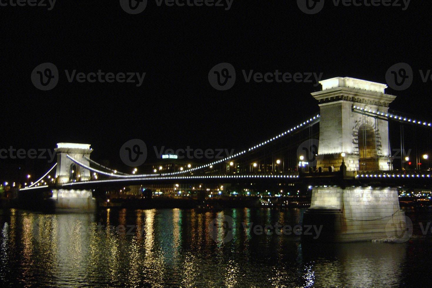 Ponte Elisabetta di notte a Budapest, Ungheria foto