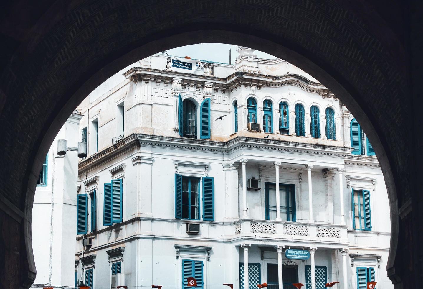 sidi bou said, cartagine, tunisia, 2020 - edificio bianco e blu foto