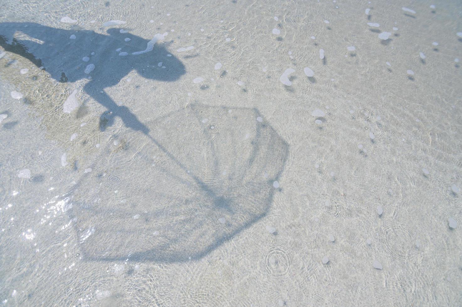 ombra nell'acqua limpida in riva al mare foto
