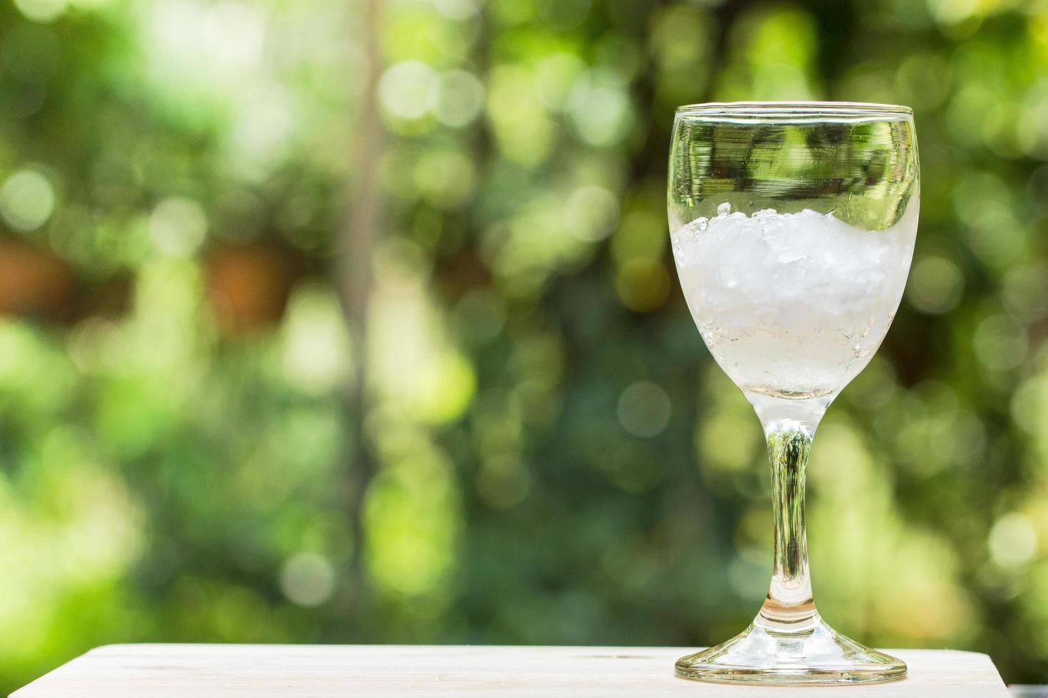 bicchiere pieno di ghiaccio sullo sfondo della natura foto