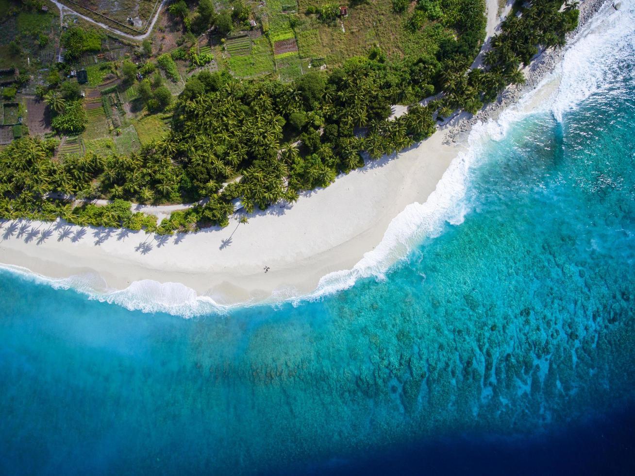 isola di fuvahmulah, maldive, 2020 - una veduta aerea di un resort sulla spiaggia foto