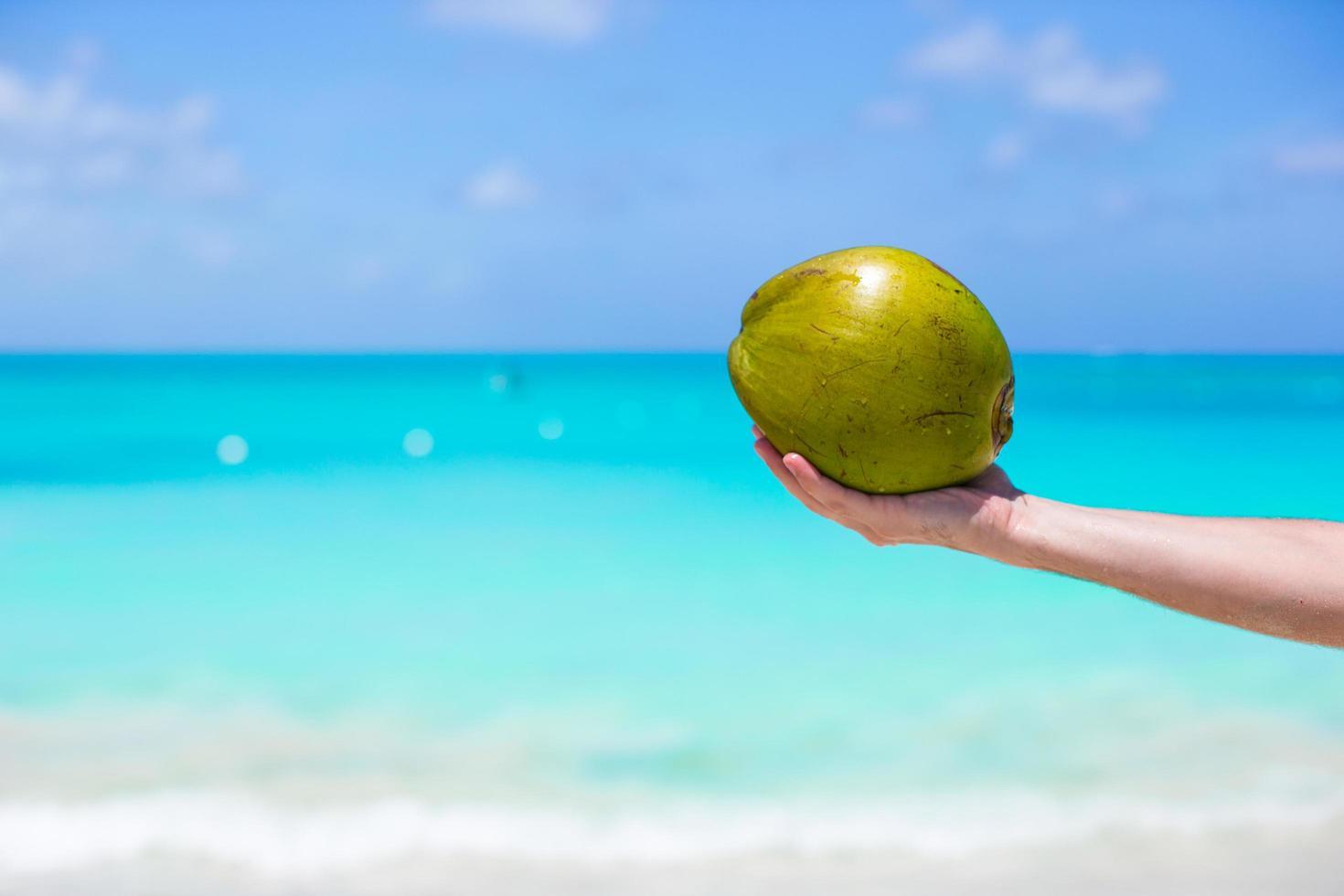 persona che tiene una noce di cocco su una spiaggia tropicale foto