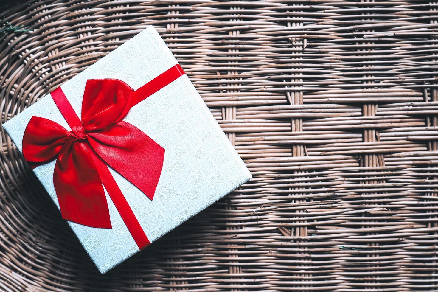 sfondo di scatola regalo di Natale e Capodanno foto