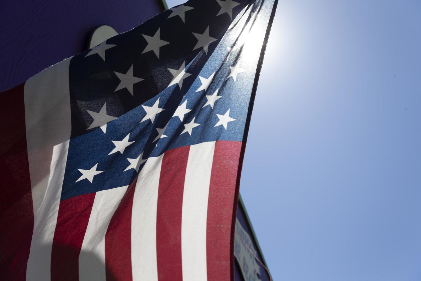 primo piano della bandiera americana foto