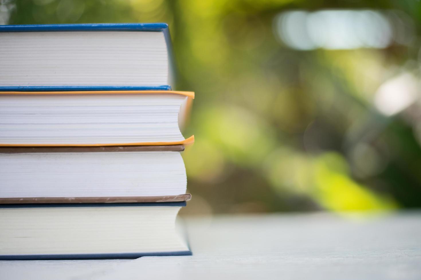 pila di libri sullo sfondo della natura foto