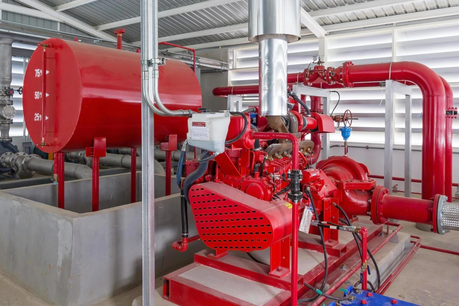 pompa del generatore rossa per tubazioni di irrigazione dell'acqua e sistema di controllo dell'allarme antincendio foto