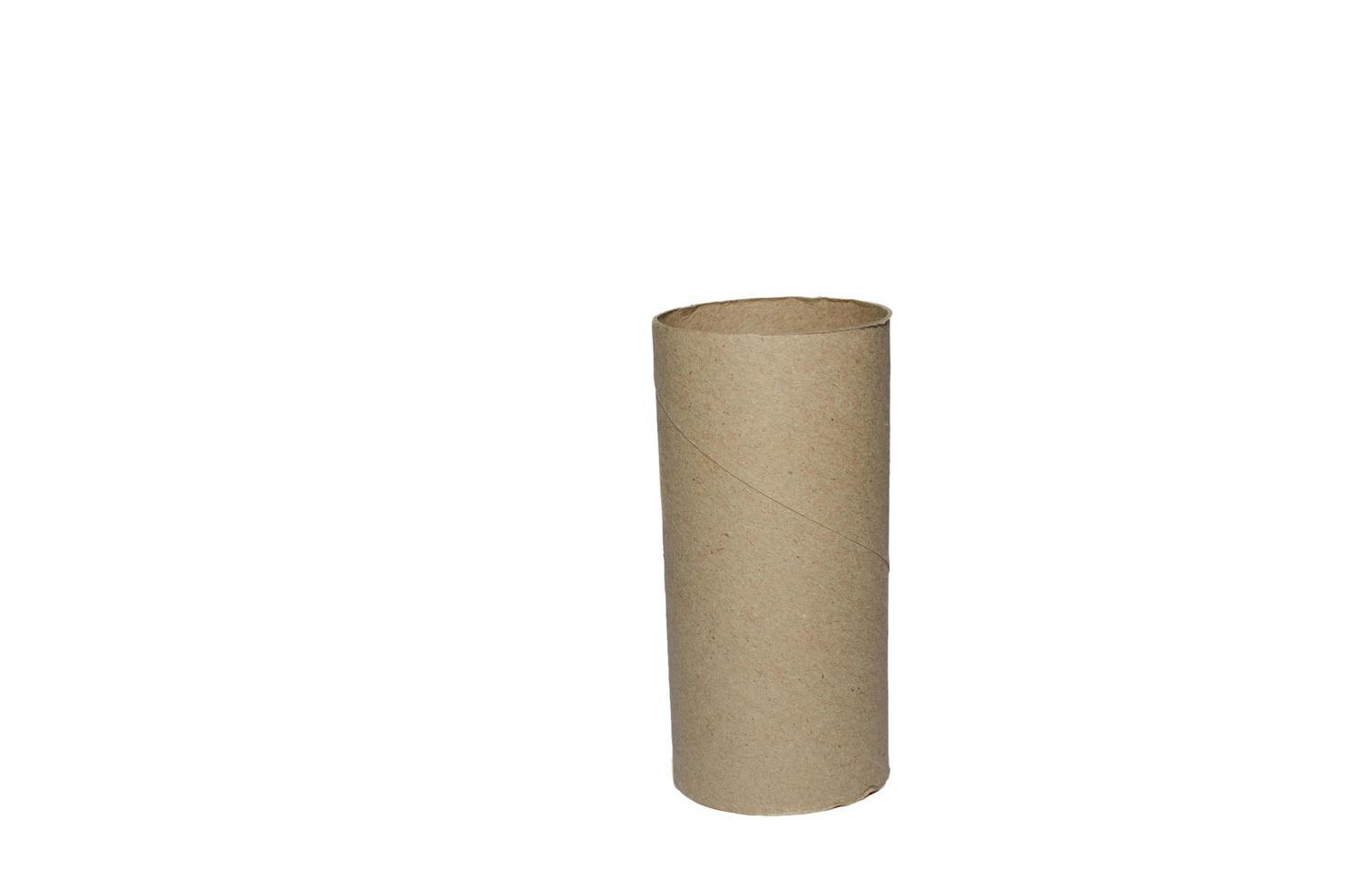 rotolo di cartone di carta igienica su sfondo bianco foto