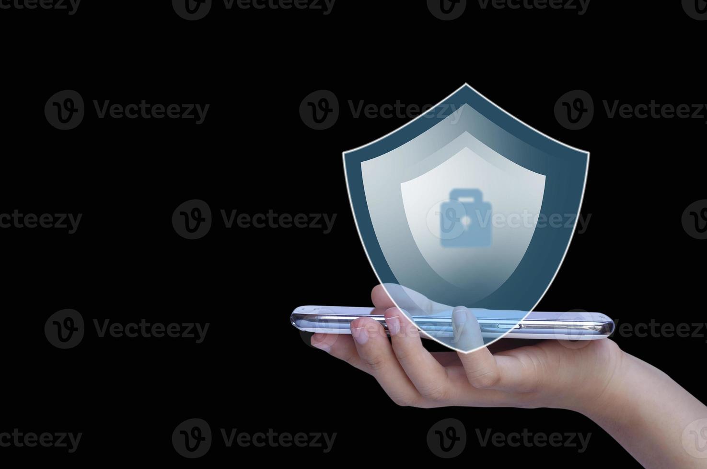 logo di protezione su smart phone foto
