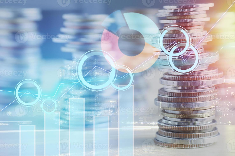 grafico sulle monete per la finanza e il concetto bancario foto