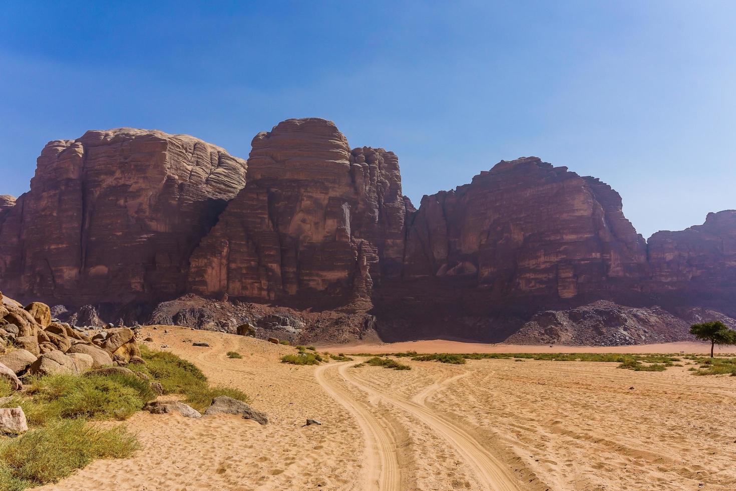 montagne rosse del deserto di wadi rum in giordania foto