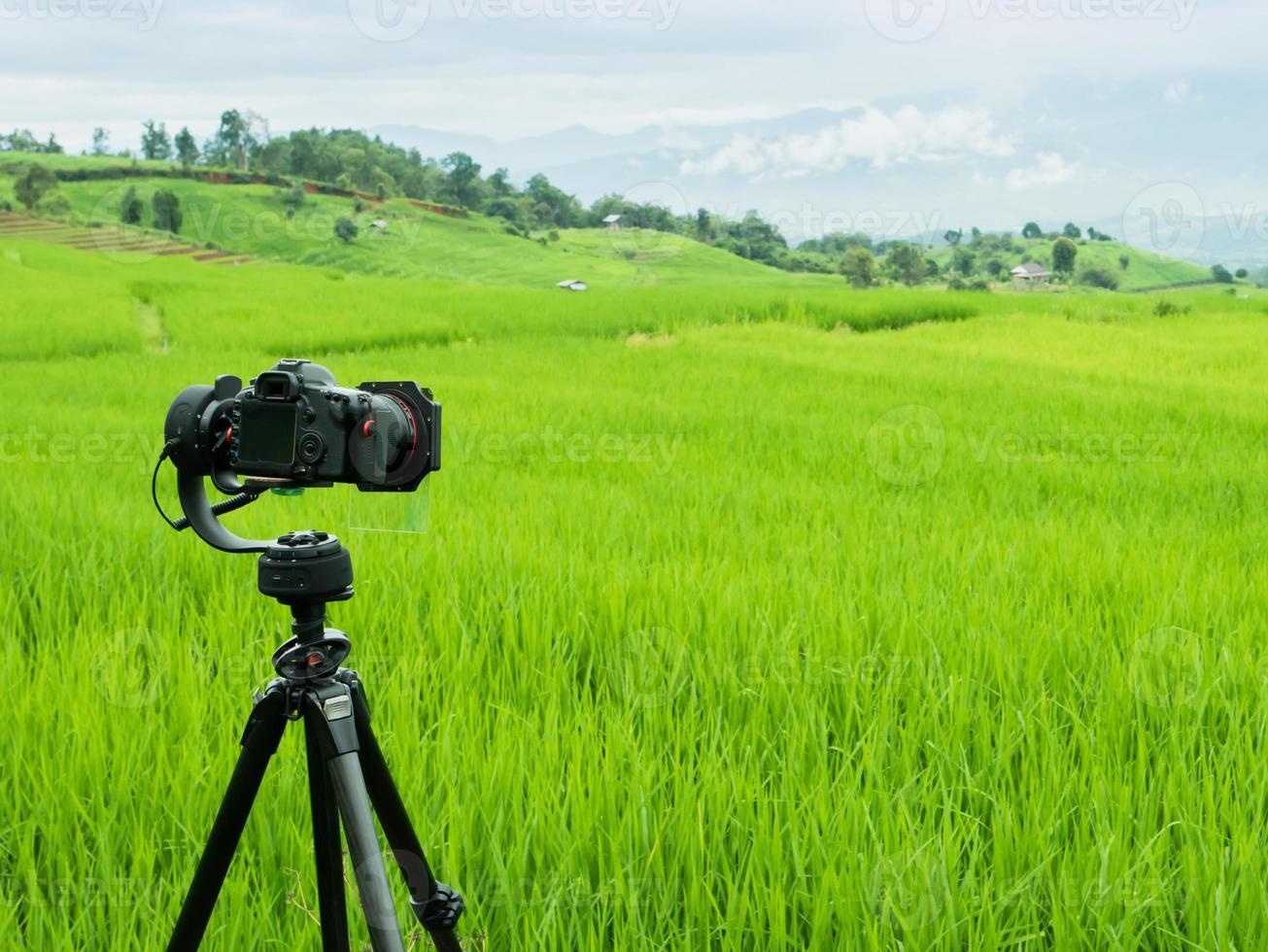 videocamera in un campo verde foto