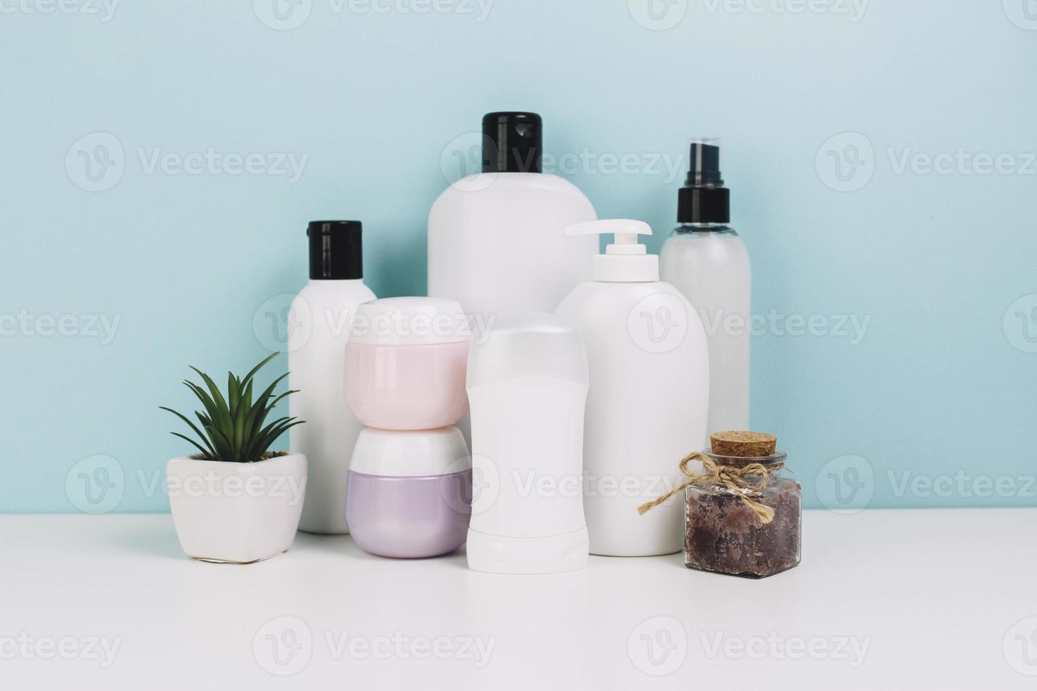 barattoli di cosmetici e bottiglie vicino alla pianta foto